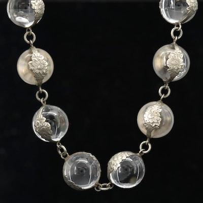"""Art Deco """"Pools of Light"""" Rock Quartz Crystal Necklace"""