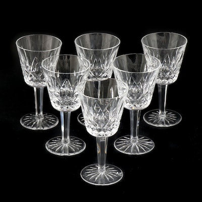"Waterford Crystal ""Lismore"" Claret Wine Glasses, Mid to Late 20th Century"