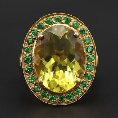 18K Yellow Gold Citrine, Tsavorite Garnet and Diamond Ring