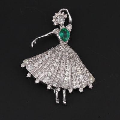 1940s 14K White Gold Emerald and 5.98 CTW Diamond Dancer Brooch