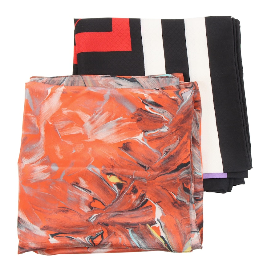 Abstract and Geometric Print Silk Scarves