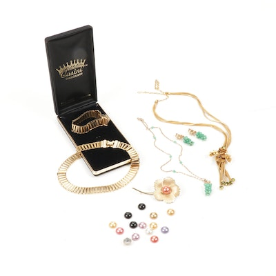 Vintage Slide Necklace, Lady Ellen Brooch and Other Jewelry Pieces