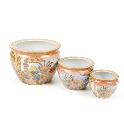 Set of Three Chinese Hand-Decorated Moriage Porcelain Fish Bowl Planters