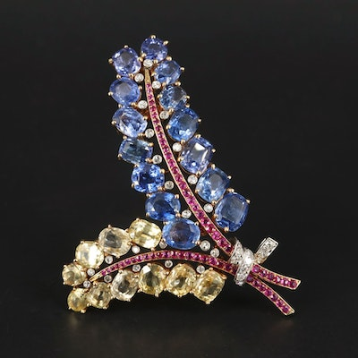 Vintage Mauboussin 14K Gold 44.76 CTW Sapphire, Ruby, and Diamond Brooch