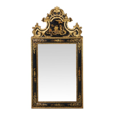 Italian Black and Gilt-Japanned Mirror, Mid to Late 20th Century