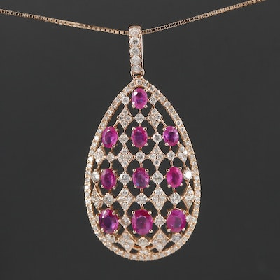 18K Yellow Gold Ruby and 1.61 CTW Diamond Pendant Necklace
