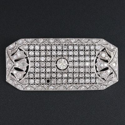 Art Deco Platinum 2.82 CTW Diamond Brooch