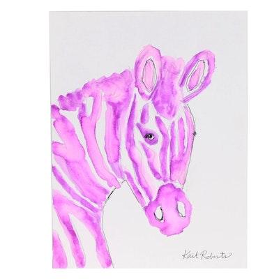 "Kait Roberts Watercolor Painting ""Sabrina the Zebra"""