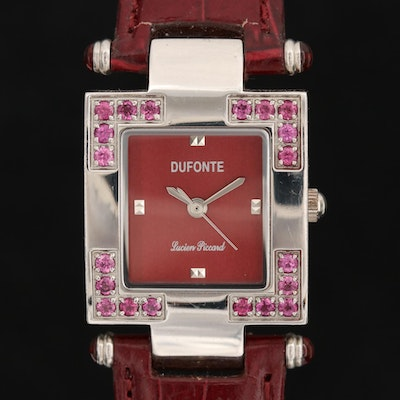 Lucien Piccard Stainless Steel and  Rhodolite Garnet Wristwatch
