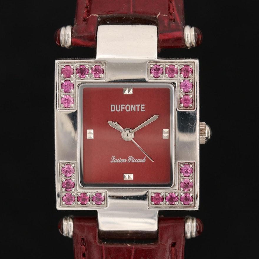 Lucien Piccard Stainless Steel and  Rhodolite Garnet Wristwatch