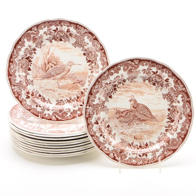 Spode Earthenware Dinner Plates with Game Birds, Early/Mid 20th Century