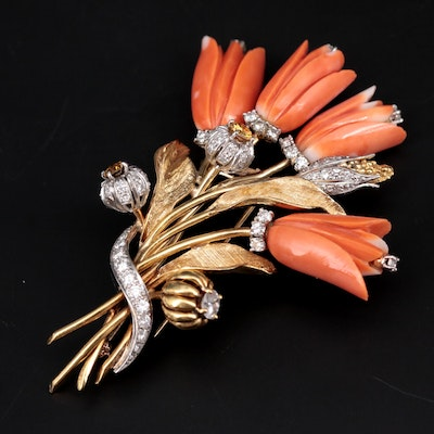 Vintage 14K Yellow Gold Coral and 2.37 CTW Diamond Floral Bouquet Brooch
