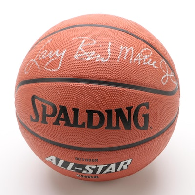 "Larry Bird and Magic Johnson Signed Spalding ""NBA All-Star"" Basketball"