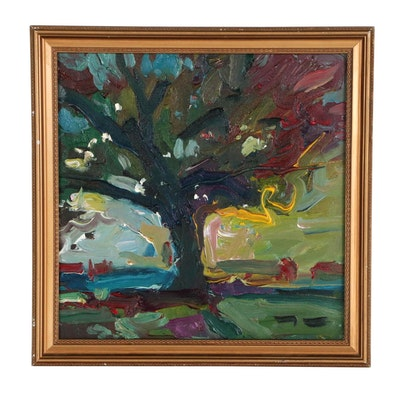 "Jose Trujillo Abstract Expressionist Oil Painting ""The Tree"""