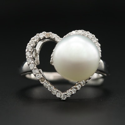 18K White Gold Cultured Pearl and Diamond Heart Ring