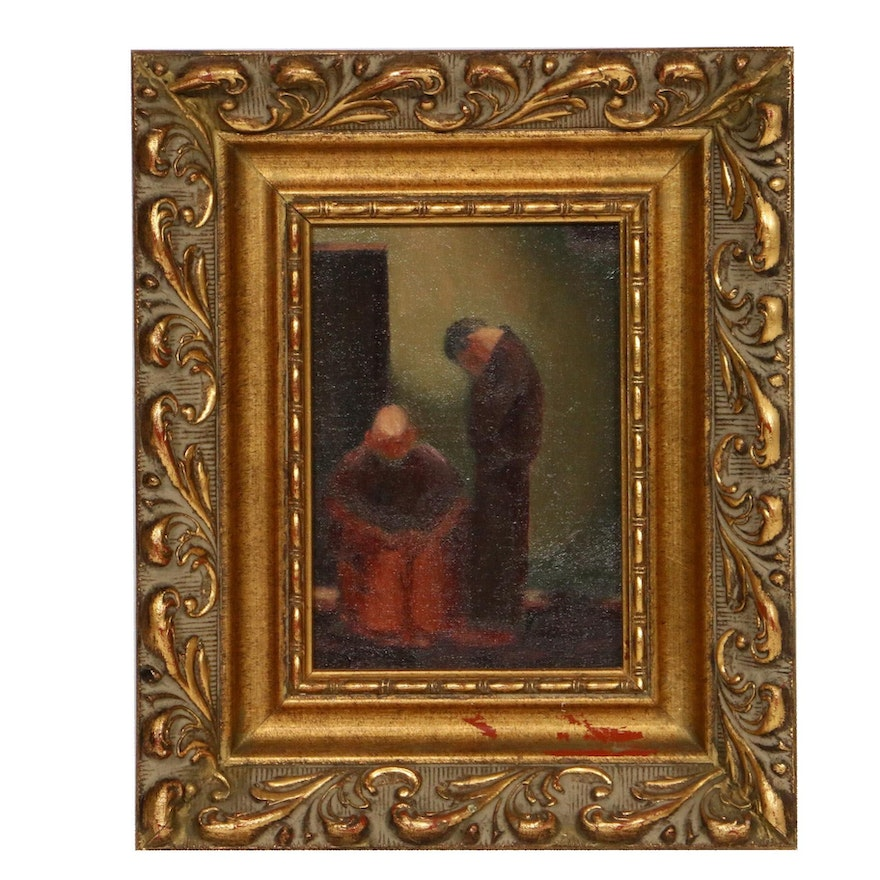 Oil Painting of Monks