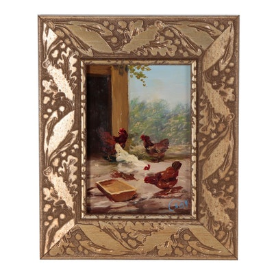 Bihari Csongor Oil Painting of Chickens