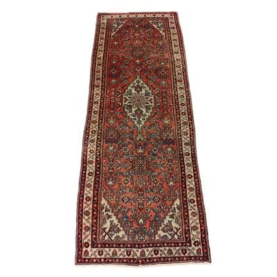 3'3 x 10'4 Hand-Knotted Persian Zanjan Rug Runner, 1970s