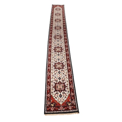 2'5 x 19'8 Hand-Knotted Indo-Persian Heriz Rug Runner