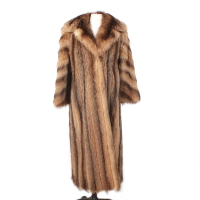 Tanuki Fur Full-Length Coat with Wide Notched Collar