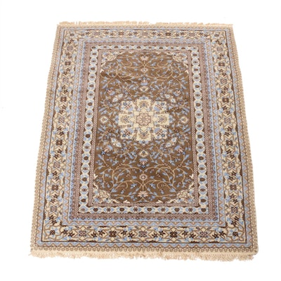 4'9 x 6'3 Hand-Knotted Indo-Persian Kashan Rug, Late 20th Century