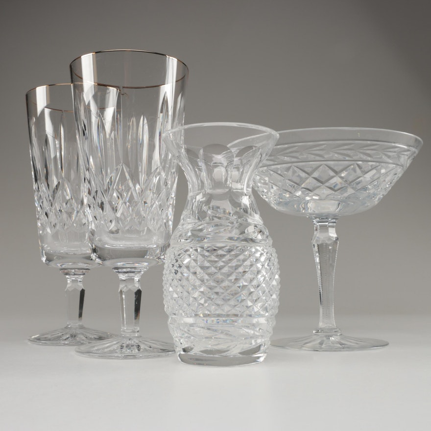 "Waterford ""Golden Lismore"" Crystal Iced Tea Glasses and Rogaska Crystal Compote"