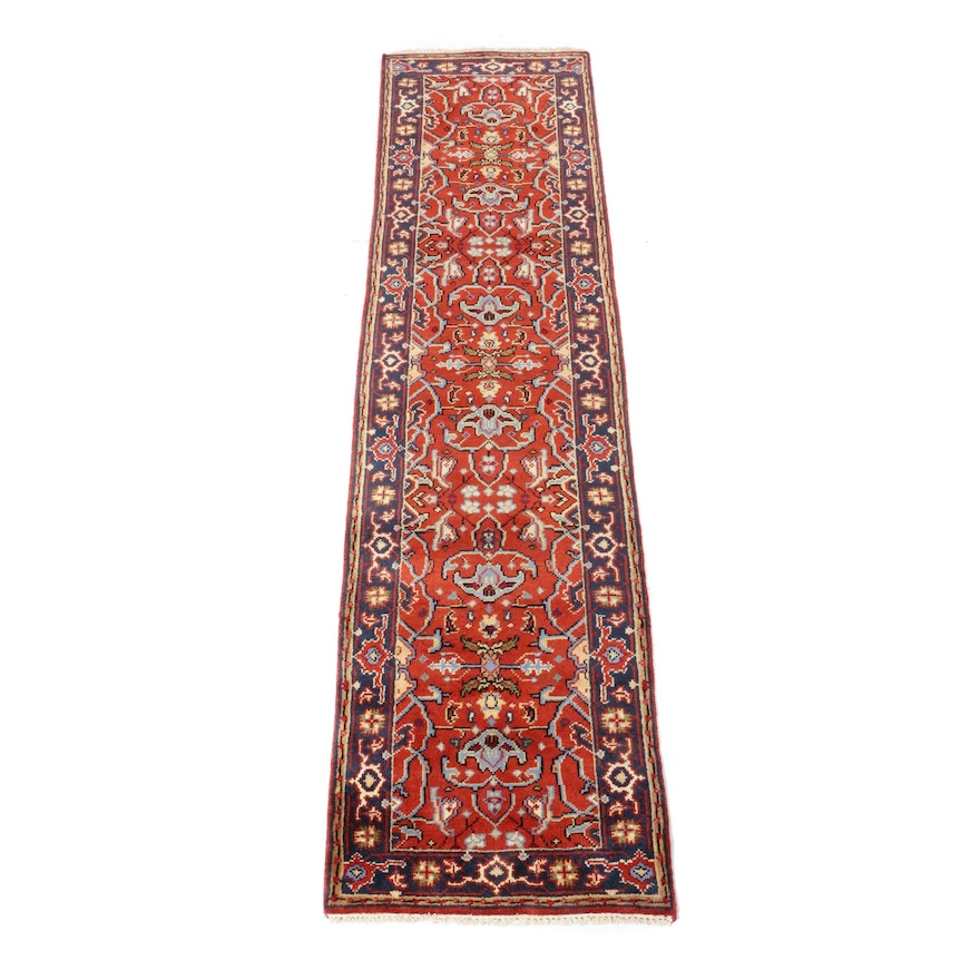 2'5 x 9'8 Hand-Knotted Indo-Persian Heriz Rug Runner