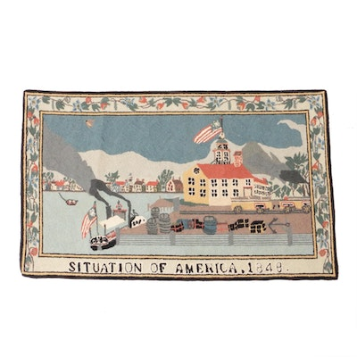 2'4 x 3'9 Hand-Hooked Pictorial Accent Rug