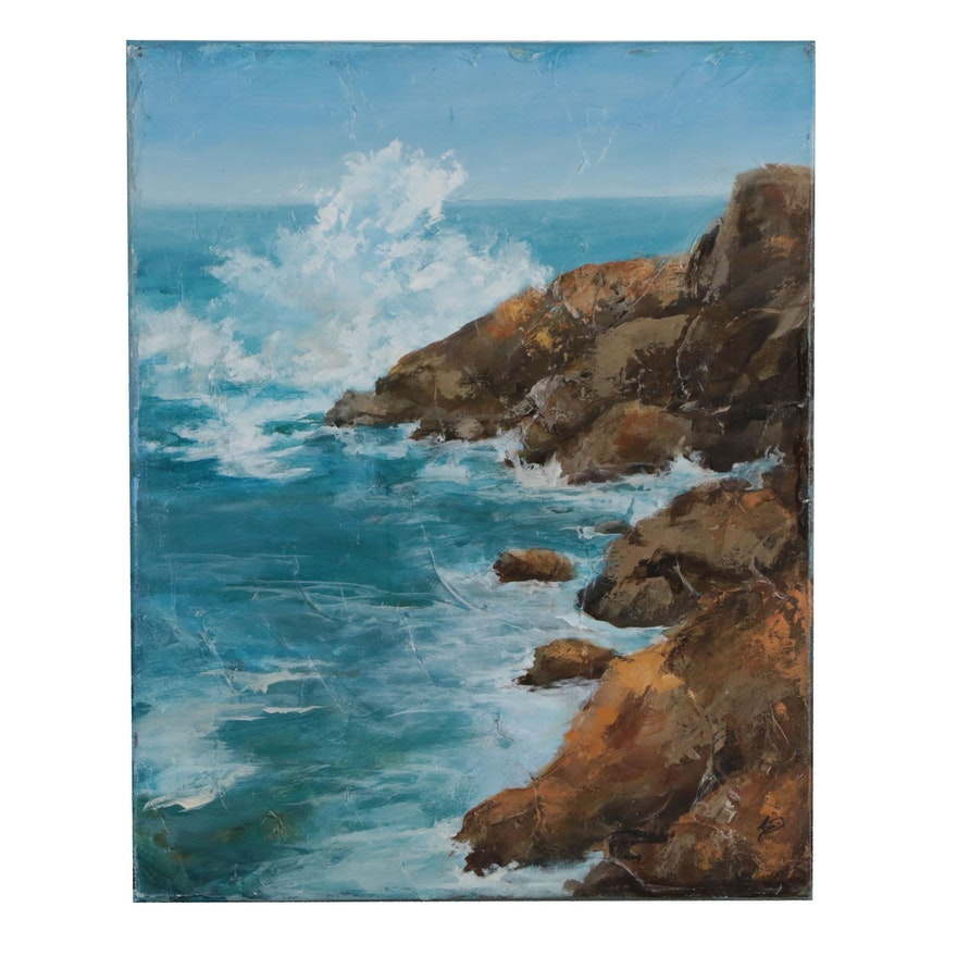 Sue Dion Acrylic Painting of Rocky Coastline