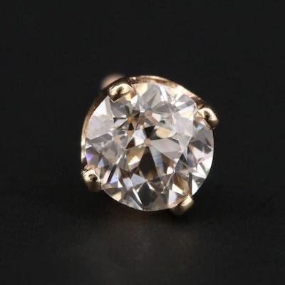 14K Yellow Gold 0.38 CT Single Diamond Stud Earring