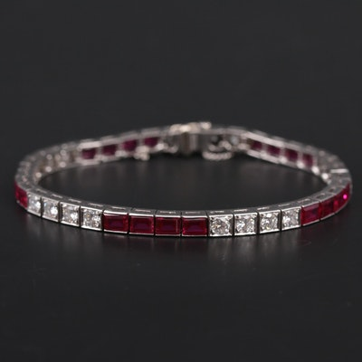 Vintage Platinum 2.50 CTW Diamond and Ruby Bracelet