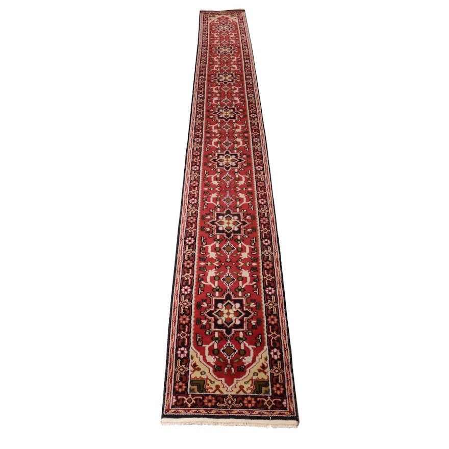 2'6 x 19'8 Hand-Knotted Indo-Persian Heriz Rug Runner