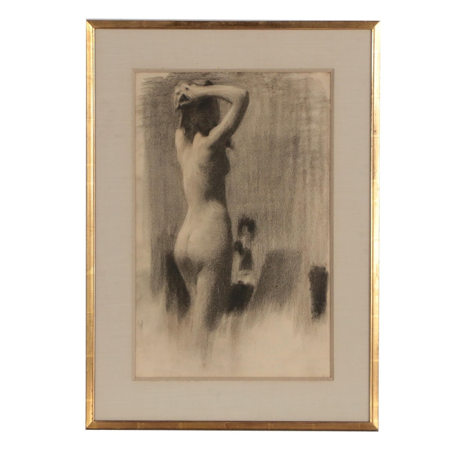 American School Charcoal Figure Study, Early 20th Century
