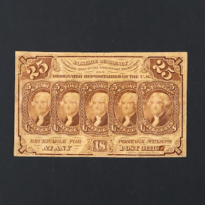 1862 First Issue U.S. 25-Cents Fractional Currency Note