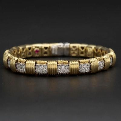Roberto Coin 18K Yellow and White Gold 2.20 CTW Diamond Bracelet