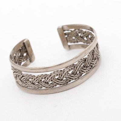 Sterling Silver Braided Rope Motif Cuff Bracelet