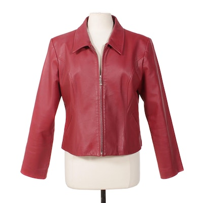 Dona Michi Fuschia Leather Zipper-Front Cropped Jacket