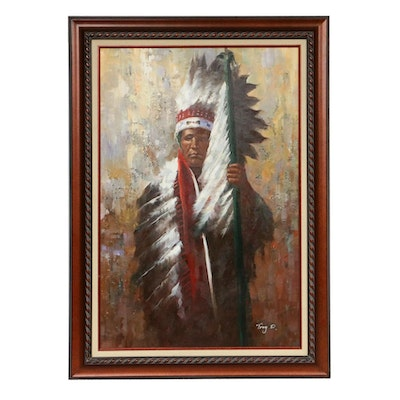 Troy D. Portrait Oil Painting of Native American Man