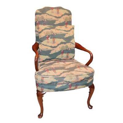 Golf Upholstered Queen Anne Style Armchair, Late 20th Century