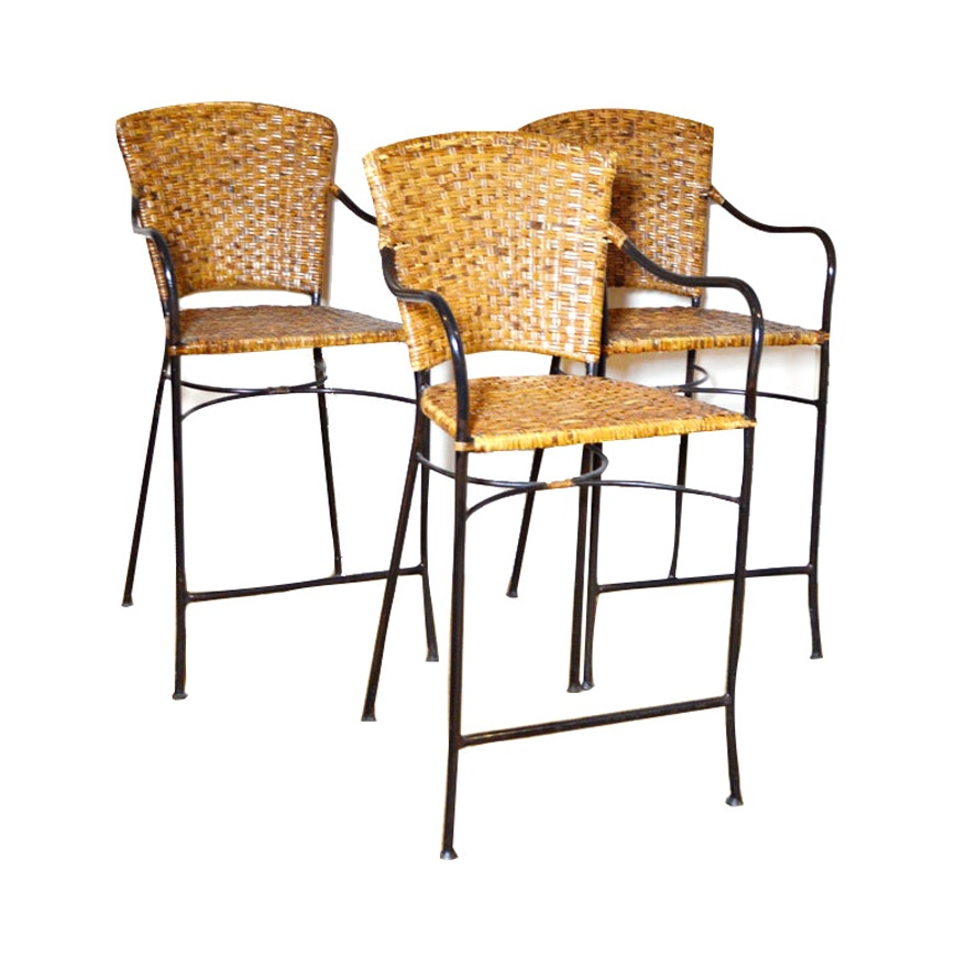 Wicker Bar Stools, Late 20th Century