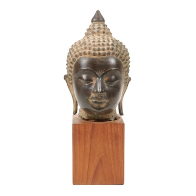Thai Bronze Buddha Head Statue