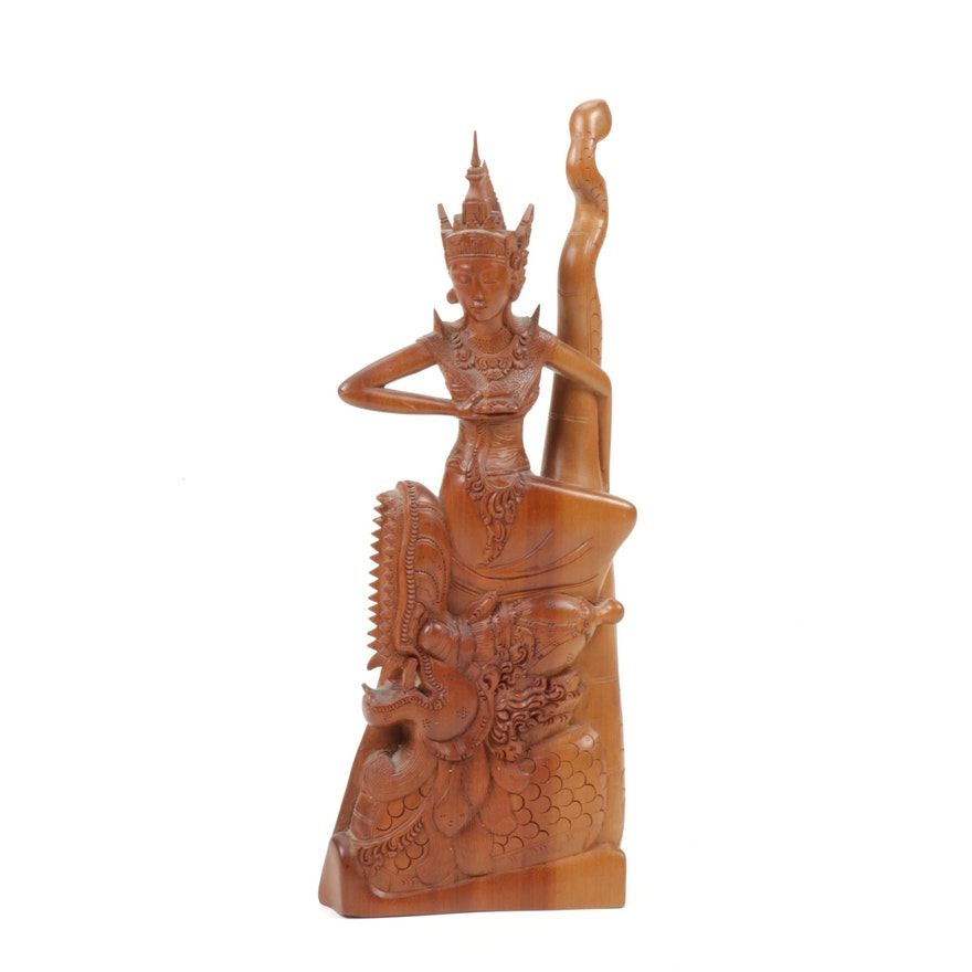 Southeast Asian Deity Wood Carving