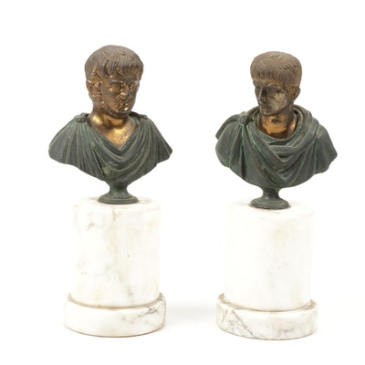 Cast Metal Sculpture Busts of Roman Emperors Nero and Augustus