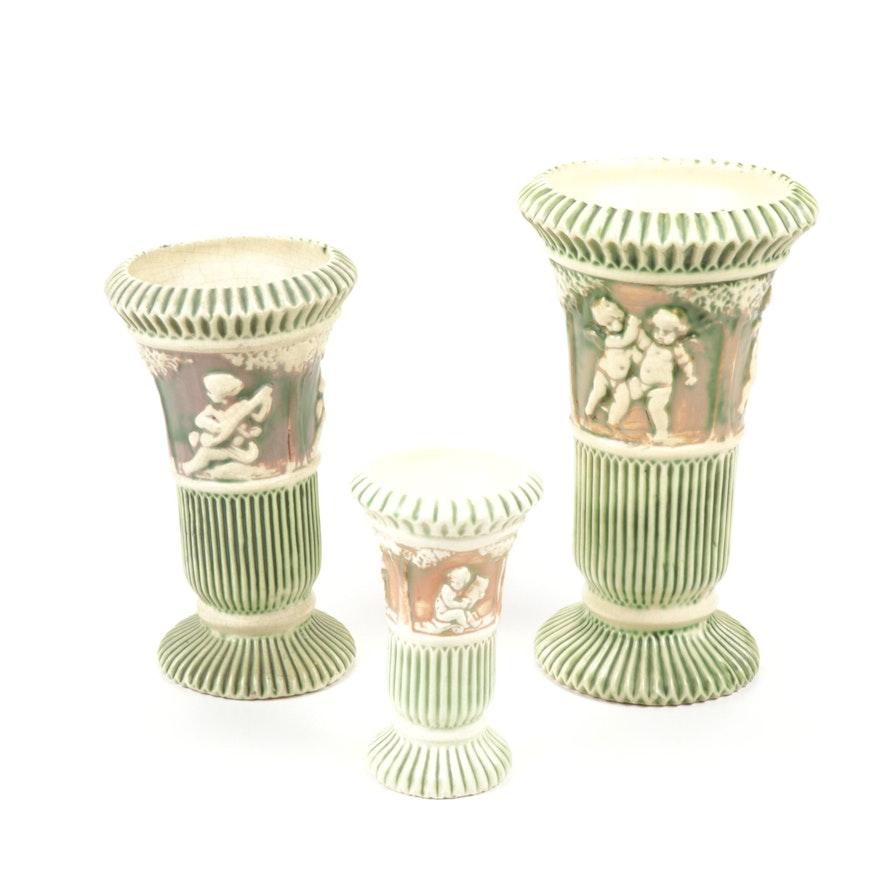 "Roseville Pottery ""Donatello"" Fluted Pedestal Vases, Early 20th Century"