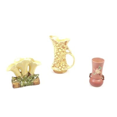 Roseville and McCoy Pottery Ceramic Vases and Pitcher