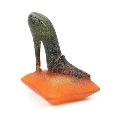 """Kjell Engman for Kosta Boda """"Catwalk Shoe"""" Art Glass Sculpture"""