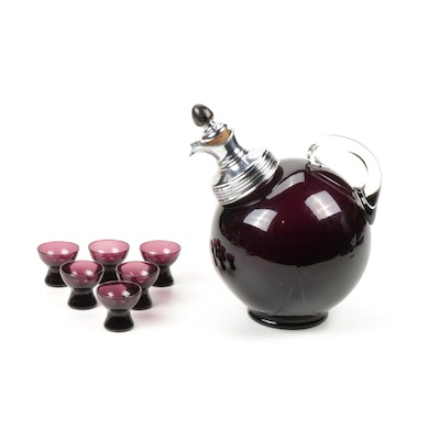 "Cambridge Amethyst Glass Ball Decanter with ""Harlequin"" Cordials"