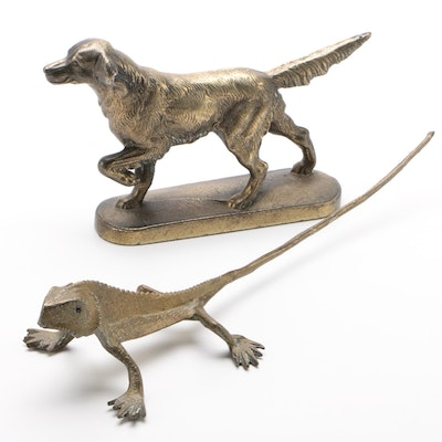 Cast Brass Retriever and Hand Wrought Lizard Figurines