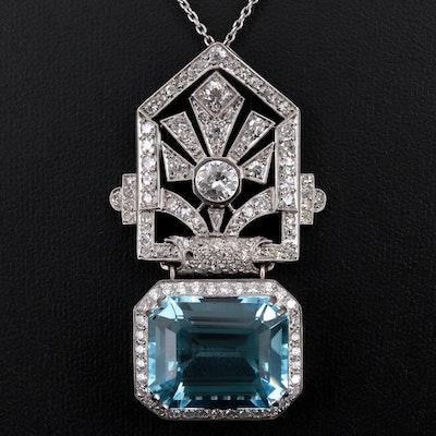 Platinum 22.13 CT Aquamarine, 2.94 CTW Diamond Necklace with Art Deco Component