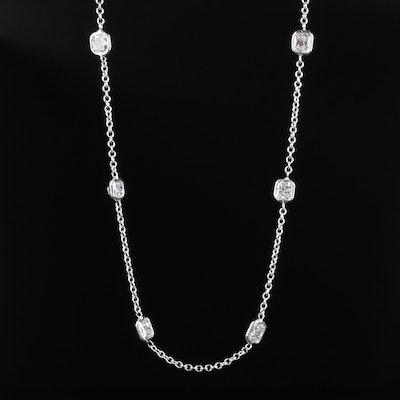 14K White Gold 7.47 CTW Diamond Station Necklace